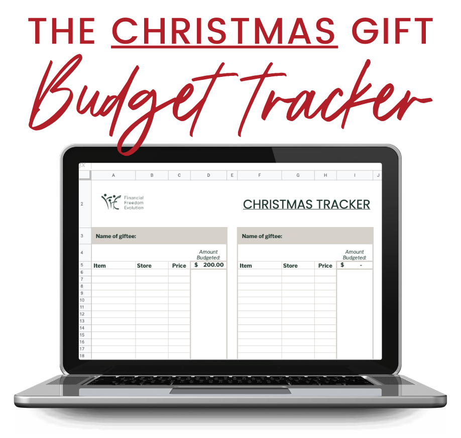 computer with christmas budget tracker